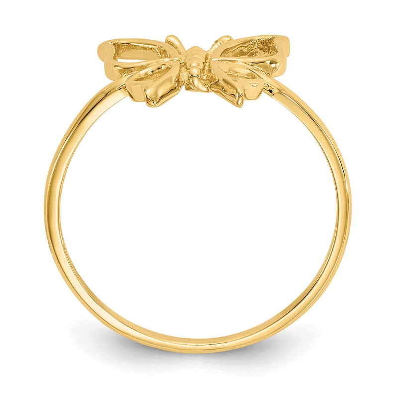 Ladies 14K Yellow Gold Butterfly Frame Insect Animal Ornate Band Gift Ring