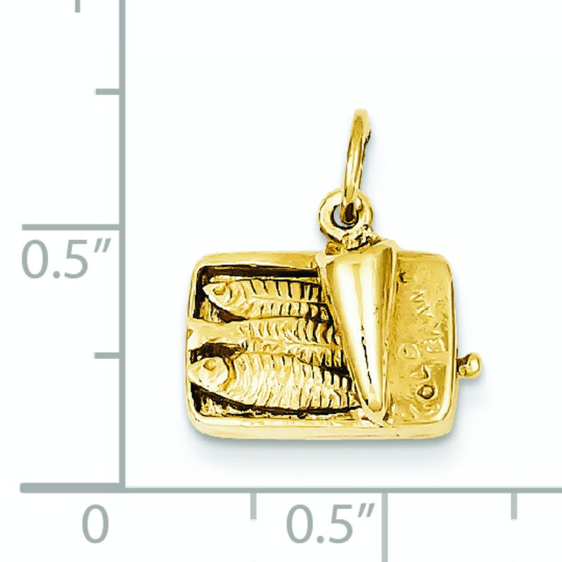 14K Yellow Gold Fun Sardine Can Fish 3D Charm Pendant 15mm