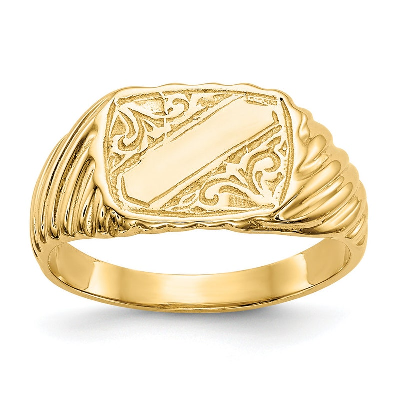 14k Yellow Gold Small Size Baby Child Kid Ring Lady Pinky Ring Band Flower Design