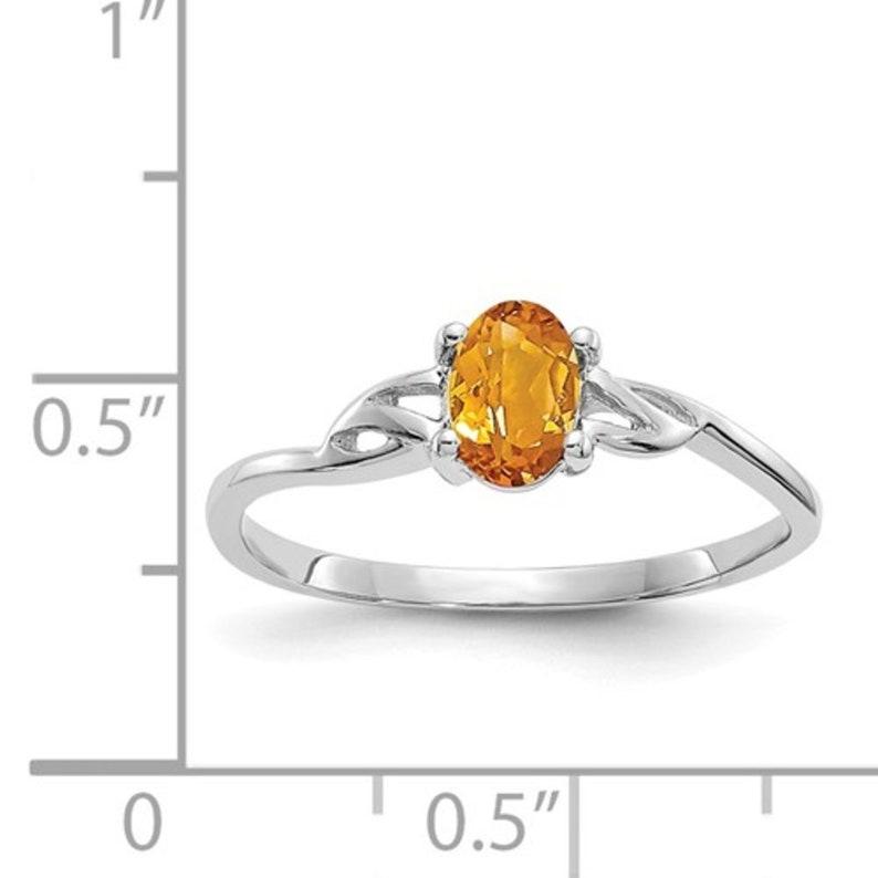Ladies 10K White Gold Yellow Citrine Gemstone November Birthstone Band Ring