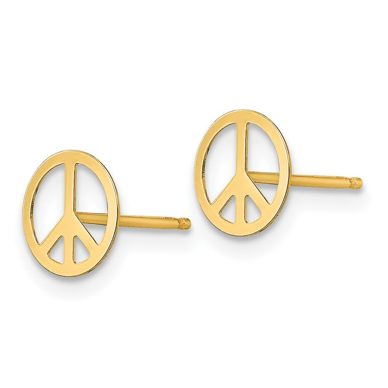 6mm Ladies 14K Yellow Gold Peace Sign Symbol Hippie Circle Post Stud Earrings