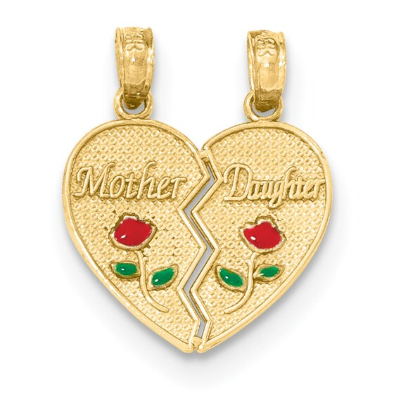 14K Yellow Gold Breakable Heart Mother Daughter Pendant on an Adjustable Chain Necklace