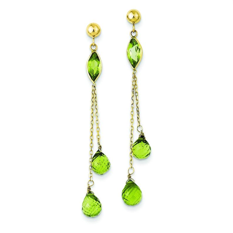 Ladies Modern 14K Yellow Gold Peridot Gemstone Post Dangle Drop Earrings 52 mm