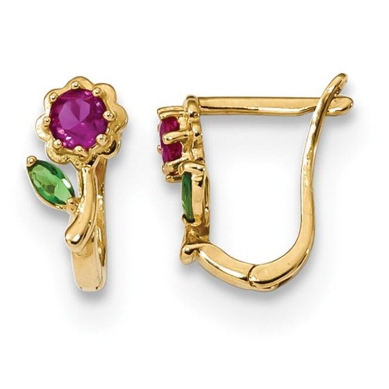 Ladies 14K Yellow Gold Cubic Zirconia Gemstone Floral Flower Latch Back Earrings