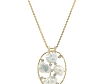 Ladies Estate 14K Yellow Gold Baroque Pearl & Diamond Oval Pendant and Wheat Chain Necklace