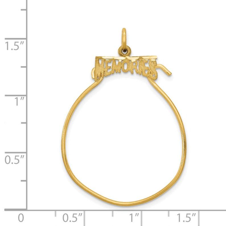 Ladies Modern 14K Yellow Gold Memories Loop Charm Pendant Holder 35mm