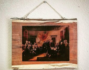Live Edge Picture Frame-Signing of the Declaration of Independence-Custom Picture Live Edge Frame-Walnut Picture Frame
