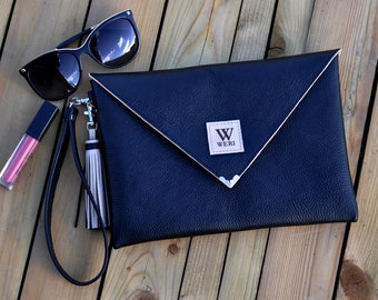 Envelope leather clutch -Leather clutch bag - Genuine leather handbag - Ladies cocktail purse - Evening Bag - Gift For Her