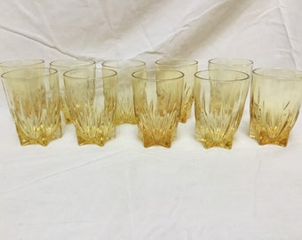 f0fa48c4bb4 Gorgeous Set of (10) 1950 s Yellow Star Shaped Drinking Glasses by Federal  Glass Company Juice Glass