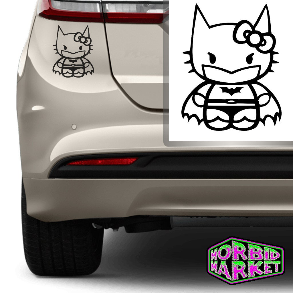 Vinyl Decal Hello Kitty Batman Car Bumper Sticker Gothic