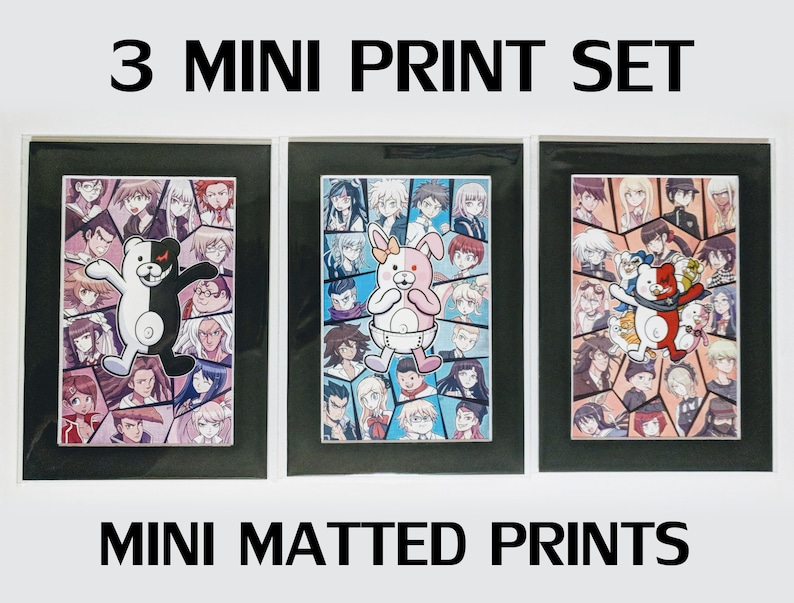 Danganronpa - 3 Mini Art Print Set 5x7 inch Fanart 1-V3