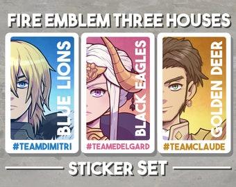 "Fire Emblem Three Houses - Sticker Set 2.75""x4"" Vinyl Matte Claude Dimitri Edelgard"