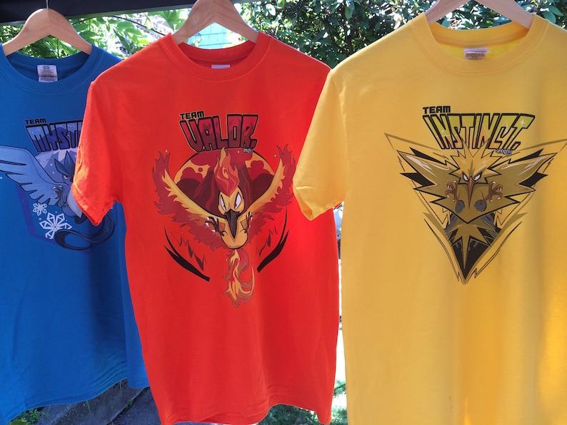 f0fc4cb2 Pokemon Go Tee Shirts Team Valor Instinct and Mystic. | Etsy