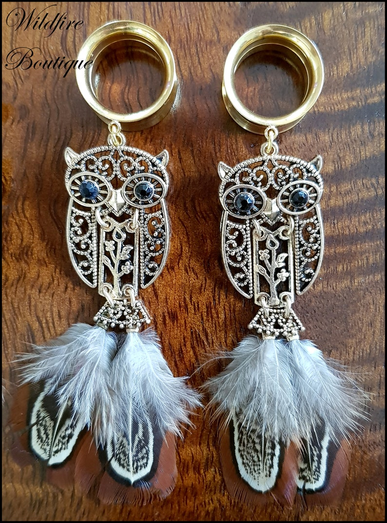 Pair Glamour Gold Owl /& Feather Dangle Stainless Steel Ear Tunnels Plugs Stretchers 6mm-25mm
