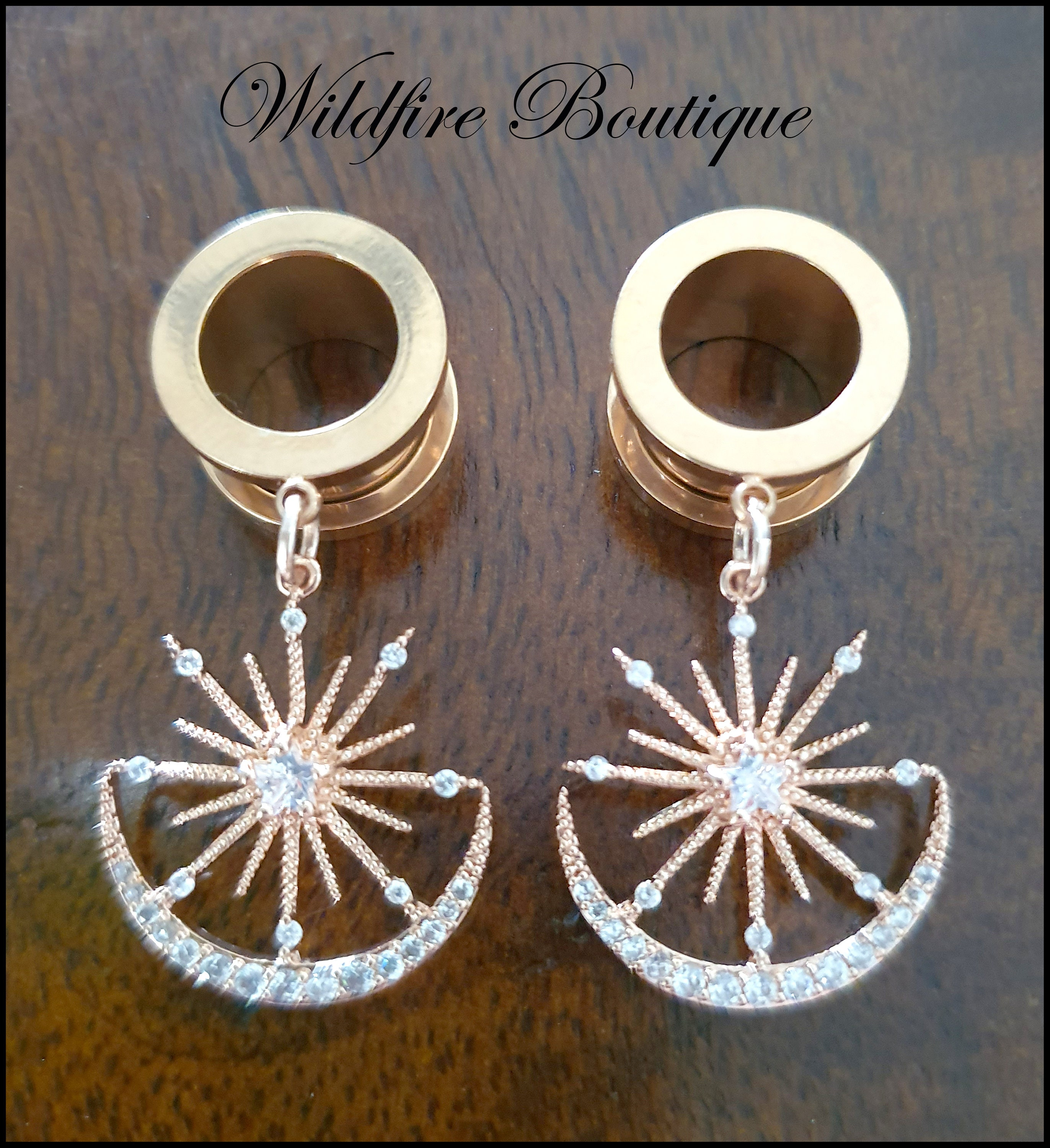 Pair Rose Gold Glam Star /& Moon Dangle Stainless Steel Ear Tunnels Plugs 6-25mm
