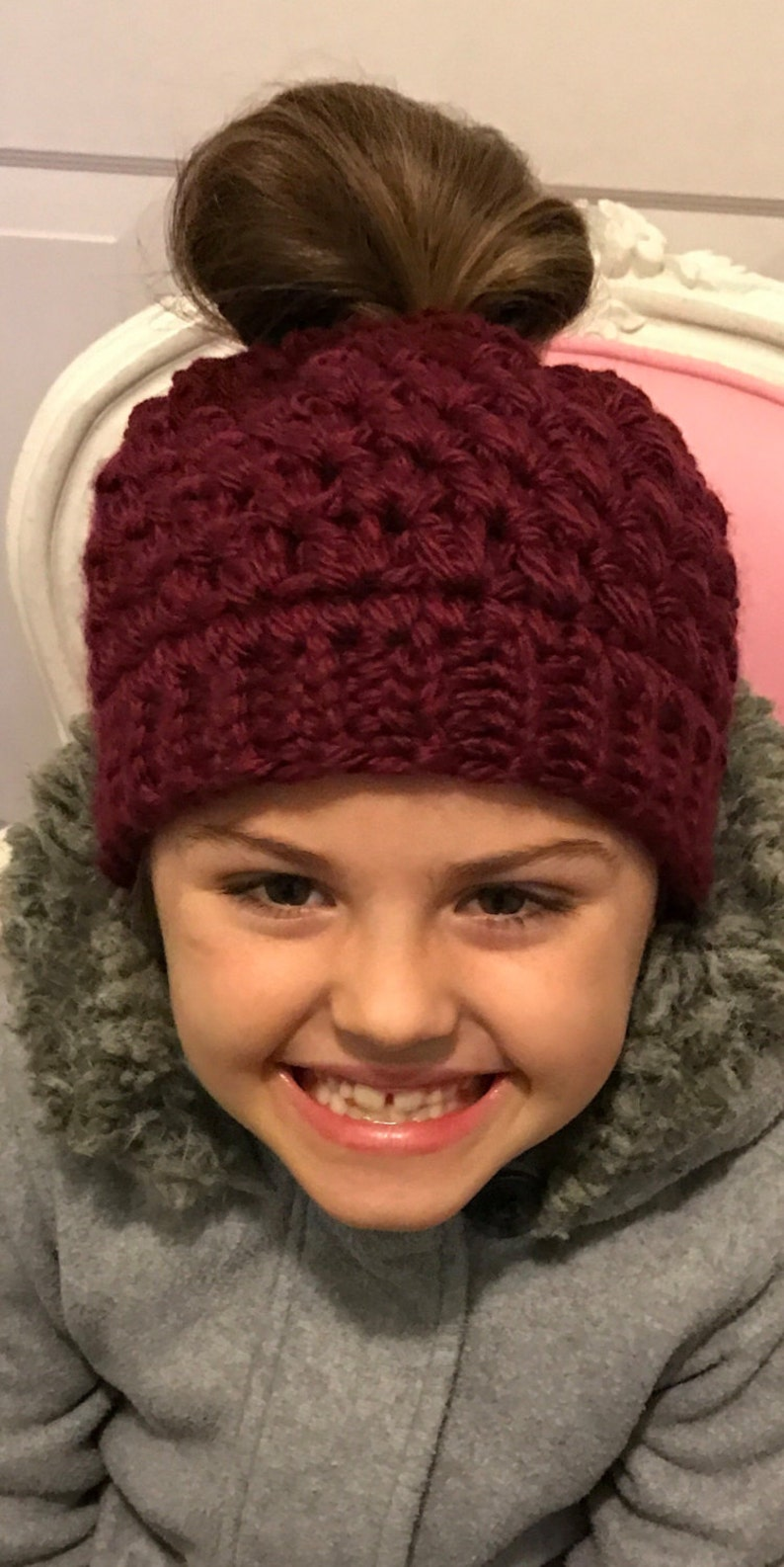 Crochet Maroon Burgundy Pinot Wine Color Ponytail Beanie Messy Bun Hat Runner Jogging Hat Skiing Hat Girl Teen Woman Winter Snow Gift