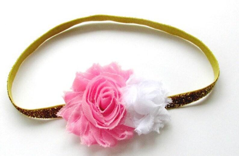 Girls Headband Gold Glitter Elastic Pink White Shabby Chic Flower Vintage Wedding Flower Girl First Birthday Party Cake Smash Photo Session