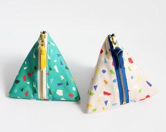Triangle zipper pouch, Confetti