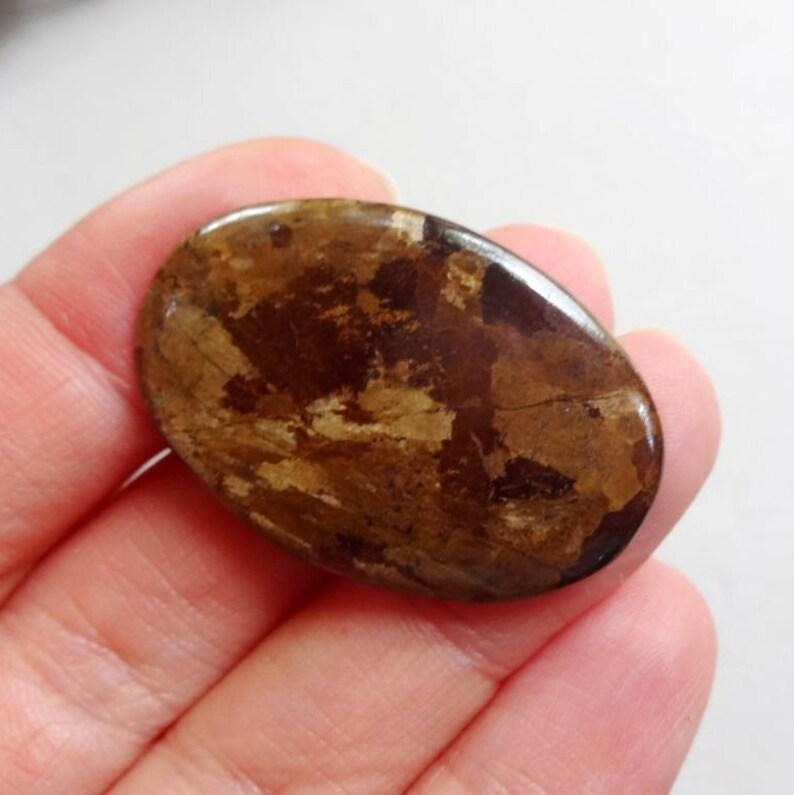 Golden Bronzite cabochon 35x23mm medium size cabochon brown