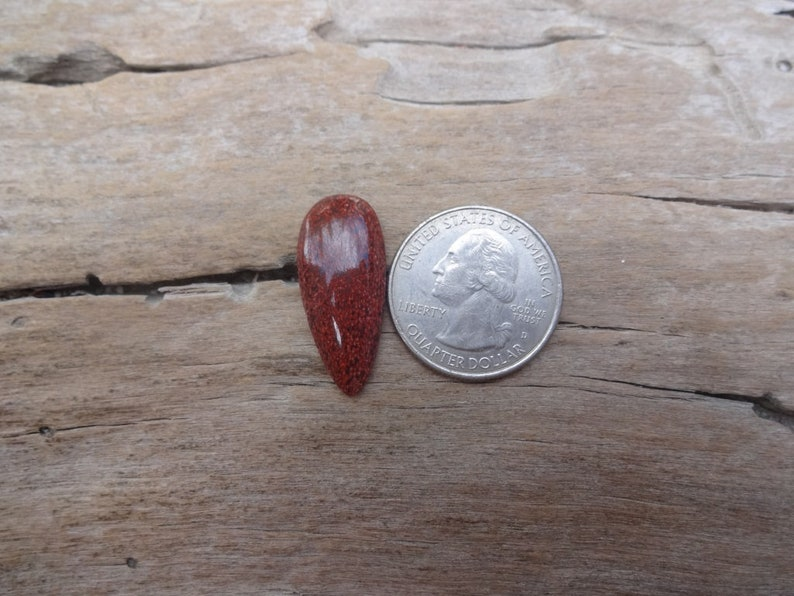 Red Analcimite teardrop cabochon 28x12mm natural stone cabs rare stones