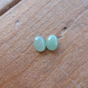 Pair Green Australian Doublet Opal small design cabochons 5x3mm blue gems for jewelry making