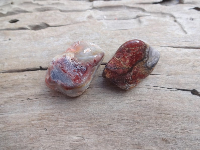 Set of 2 Red Crazy Lace Agate tumbled stones