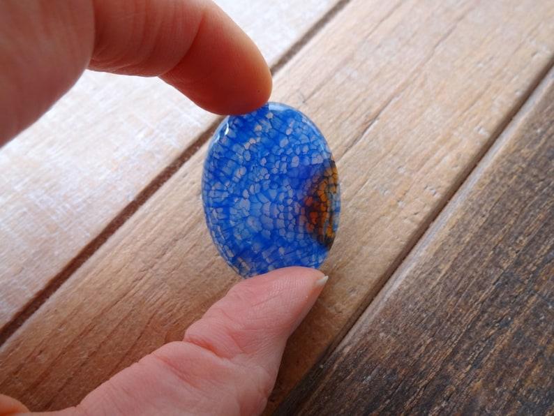 Blue Dragon Veins Agate oval cabochon 40x30mm
