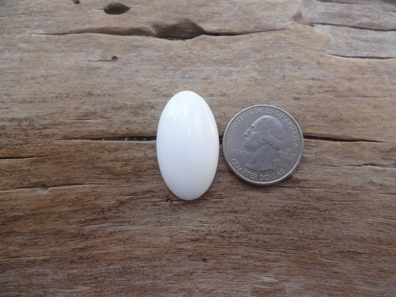 Milk Opal cabochon 32x19mm rare stones Cacholong oval cabochon