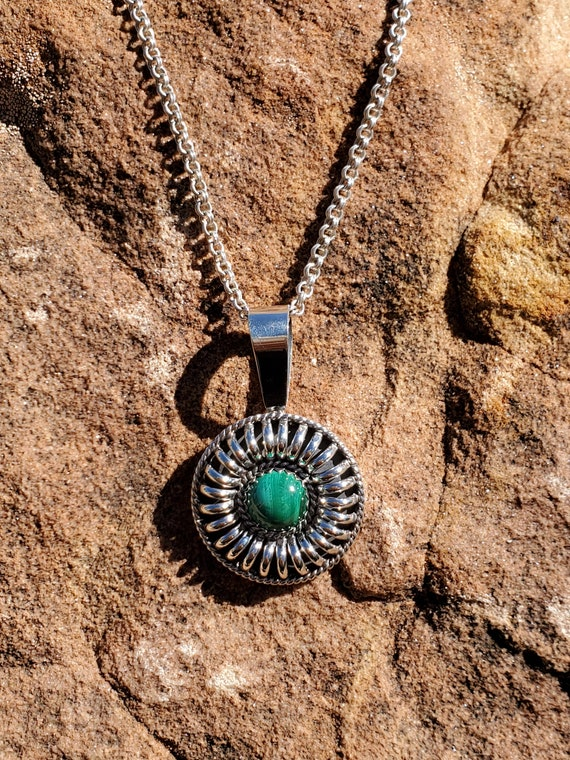 Round Concho Pendant With Malachite Stone Carnelian Lapis Navajo Jewelry