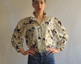 Vintage Abstract Pattern Button Up Blouse