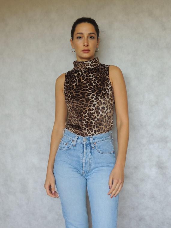 90s Vintage Leopard Velvet Turtleneck Sleeveless T