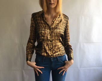 Vintage Abstract Print Button Up Shirt