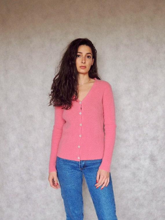 90s Vintage Rose Pink Ribbed Cashmere Cardigan