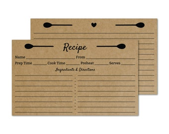 Hostess Gourmet Gift Cathrine Holm Kraft Brown Recipe Cards 3x5 for the vintage modern kitchen Set of 25