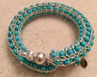 Handmade Sterling Silver Turquoise Beaded Woven Lace Braclet