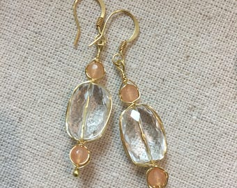 Handmade Brass Wire Wrap Earrings with Quartz Crystal & Jade