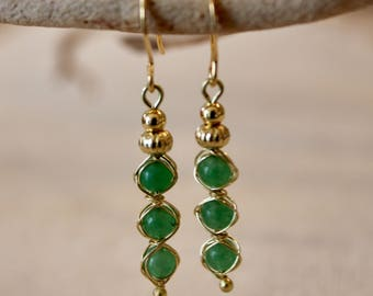 Dyed Jade Wire Wrapped Drop Earring