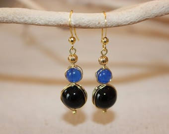 Handmade Onyx and Dyed Blue Jade Wire Wrapped Drop Earring