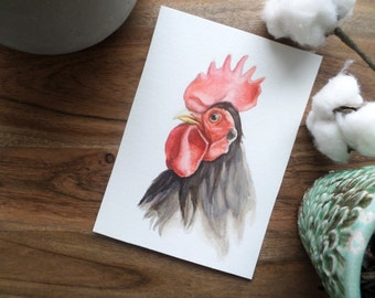 Original Rooster Watercolor Painting