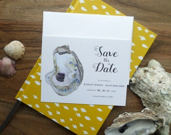 Custom Watercolor Oyster Save the Dates- Beach Wedding Invitations