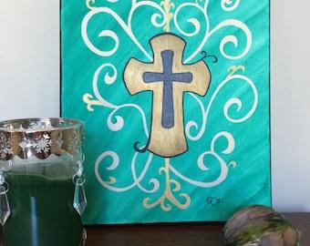 Acrylic and Watercolor Cross