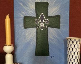 Acrylic, Heavenly Blue Sunburst Cross