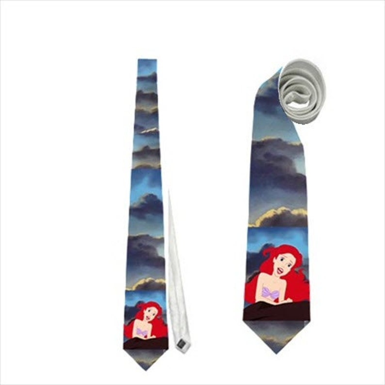 Necktie tie beauty the beast ariel rapunzel wedding prom gala animation flounder