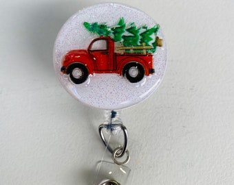 Red Truck w Christmas Tree Glittered Interchangeable Badge Reel  Holder and Topper
