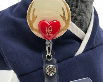 Heart and Antlers ID Badge Reel/Valentine Badge Reel/Interchangeable or Permanently affixed to Badge Reel front