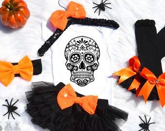 Baby Halloween Outfit-sugar Skull Outfit-First Halloween Outfit-Halloween Outfit