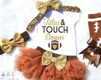 Tutus and Touch Downs Onesie- Football Onesie- Fall Onesie- Baby Girl Football Onesie- Girl Football Onesie