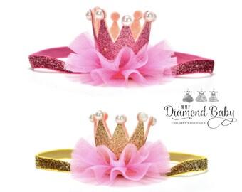 Baby crown headband- crown headband - baby headband- Pink princess crown- infant crown headband - newborn crown glitter crown