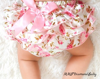 Ruffled Diaper cover-baby bloomers- flowered baby bloomers- baby photoshoot outfit