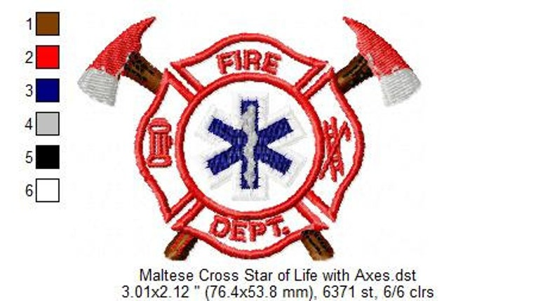 INSTANT DOWNLOAD: Star of Life Maltese Cross Embroidery Files